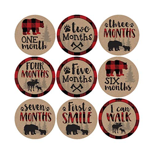 16 Woodland Bear Baby Milestone Stickers, Rustic Winter 12 Monthly Photo Picture Props For Boy or Girl Infant Onesie, 1st Year Months Belly Decal, Scrapbook Memory Registry Gift Lumberjack Shower Idea]()