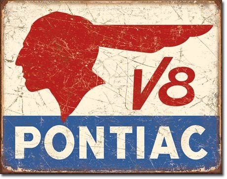 Pontiac V8 Logo - Distressed Retro Vintage Tin Sign 13 x 16in