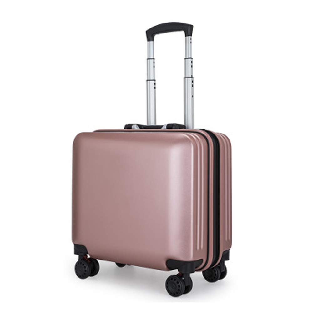 ミニ搭乗ケース、アルミフレームスーツケース、つや消しトロリーケース、小さな荷物ケース、男性と女性のための革ケース、 B07QS5ZDDN Rosegold