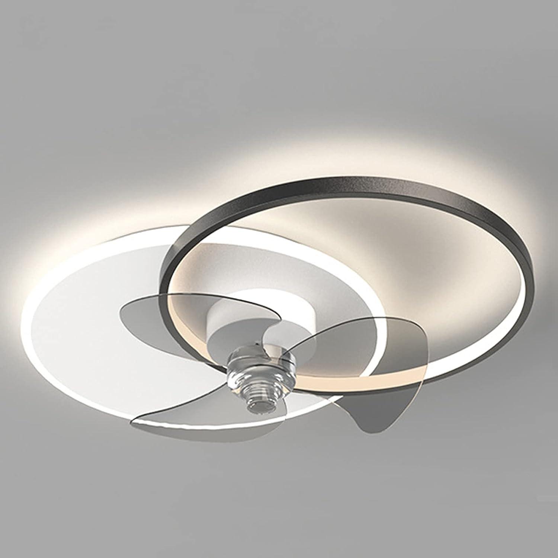 Ventilador De Techo Moderno Con Iluminación Y Mando A Distancia, Comedor 48W Regulable Lámpara De Techo Fan, 6 Velocidades Cuarto Oficina Silencio Invisible Lámpara De Ventilador,Negro
