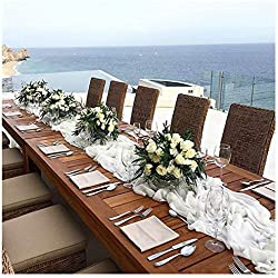 """QueenDream 27""""x120"""" White Classy Soft Chiffon Sheer Table Runner for Wedding Overlay Birthday Party Sweets tables Decoration"""