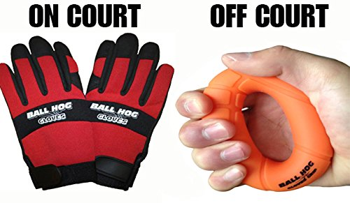 Ball Hog Gloves (Ball Handling) & Ball Hog Gloves Hand Grip Strengthener (XL (High School/College))