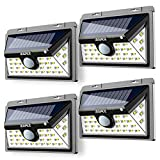 AUSPICE Solar Lights Outdoor, Upgraded [34LED] 3 Optional Modes Motion Sensor Lights, IP65 Waterproof, 270° Wide Angle 450LM LED Solar Light for Step Stairs,Yard,Garden,Garage,Deck(4Pack)