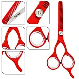 WOW ! Special Sale Offer for Limited Time - Super Sharp Professional Hairdressing Scissors Braber Salon Scissors Hair Cutting Thinning Scissors - GRAB IT NOW ! (Red T 5.5')