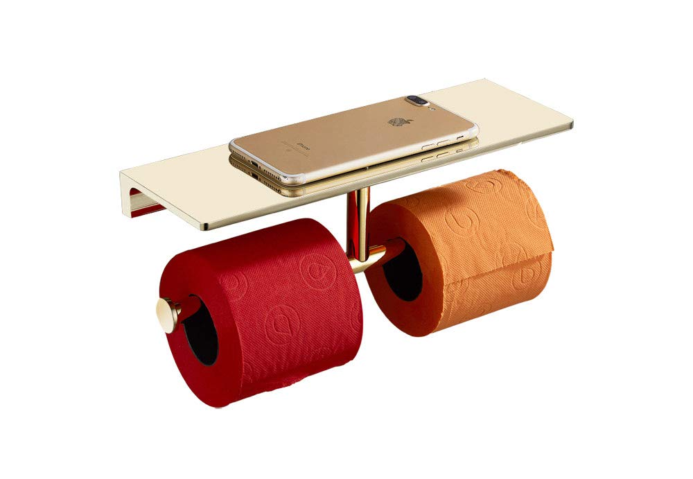 SANLIV Heavy Brass Double Roll Toilet Paper Holder, Hotel Collection Twin Roll Bathroom Tissue Dispenser with Storage Shelf in PVD Gold Finish