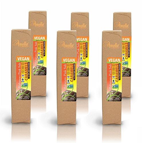 Organic Vegan Habanero Pink Salt Caramels in 72% Dark Chocolate, 16.8 ounces (6 packs - 6 pcs/pack) by Amella (Image #2)