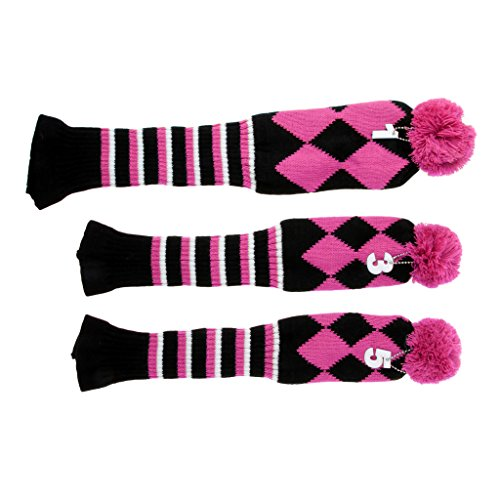 Baosity Knitted Golf Club Head Covers Set of 3, Perfect for Driver Wood(460cc), Fairway Wood, Hybrid(UT), Multicolor - Pink, One Size ()
