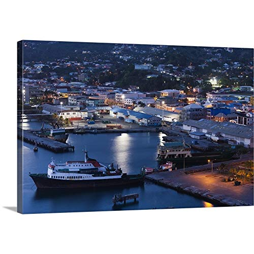 GREATBIGCANVAS Gallery-Wrapped Canvas Entitled Kingstown, St. Vincent, Port, Dusk by 60