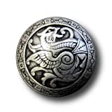 Button Paradise Sewing Buttons - Set of 6 Stunning Metal Buttons, Historic Design with Dragon, Medieval Theme - Colour: Old Silver, Ø approx. 0.98'' (=25mm)