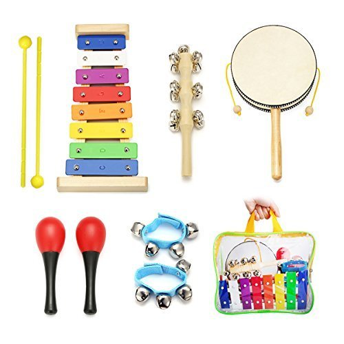 Kids Musical Instruments - NASUM 7pcs Musical Instruments & Percussion Toy Rhythm Band,Xylophone,Rattle,Maracas,Sleigh Bell,Wrist Bells,Set Instrument Enlighten Toy for Children,kids,with carry bag