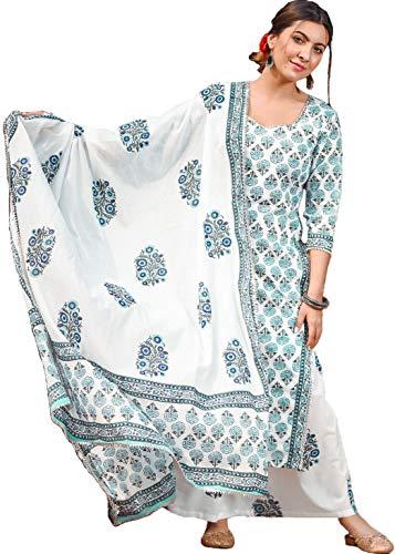 ANNI DESIGNER Women's Midnight Blue Hand Block Cotton Kurta with Palazzo & Dupatta (Set of 3) (Jaipuri White)