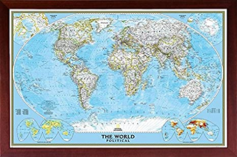 Amazon Com Framed National Geographic Political World Map 24x36 Dry Mounted In Real Wood Walnut Brown Crafted In Usa Posters Prints