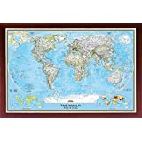 FRAMED National Geographic Political World Map 24x36 Dry Mounted in Real Wood Walnut Brown Crafted in USA