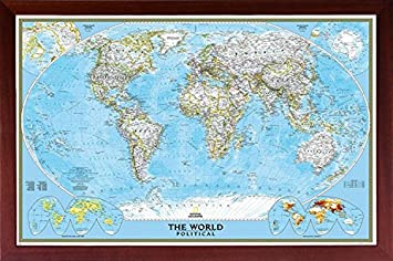 Framed National Geographic Political World Map 24×36 Dry Mounted in Real Wood Walnut Brown Crafted in USA