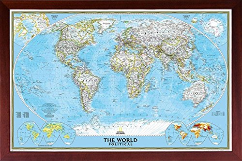 (Framed National Geographic Political World Map 24x36 Dry Mounted in Real Wood Walnut Brown Crafted in USA)