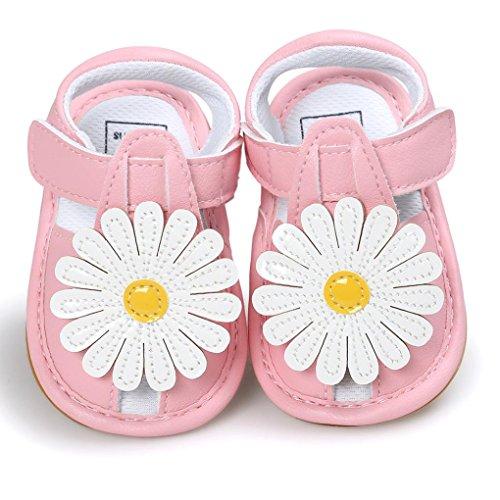 zapatos bebe niña verano Switchali Recién nacido nina primeros pasos zapatos bebe con suela floral princesa Zapatos moda Al aire libre sandalias de niña fiesta baratos Rosado