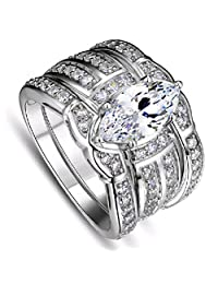 Fancy Fashion Lovers Bling White Crystal Ring Men & Women Set Ring For Gift