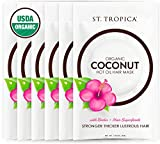 ST. TROPICA Coconut Oil Hair Mask - 6 Full-Sized Hair Masks - #1 Ranked on Skin Deep; USDA Organic with Biotin + Hair Superfoods. STRONGER, THICKER, LUSTROUS Hair with brilliant SHINE!