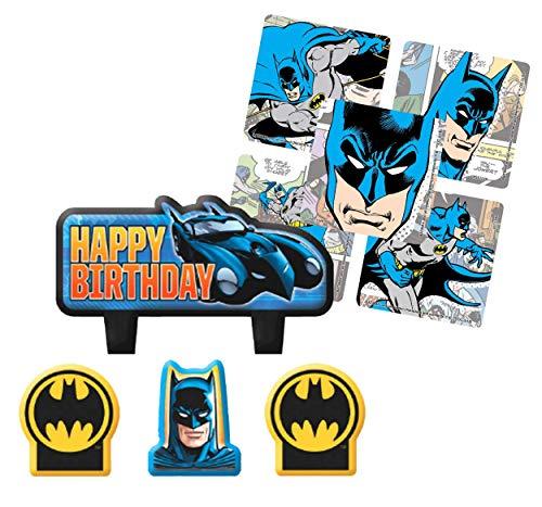Batman Birthday Cake Candle 4pc Set! Plus 16ct Party Favor Stickers!