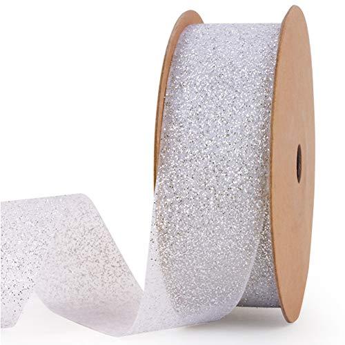 Organza Ribbons Chiffon Ribbon, 10 Yard 1 Inch Shimmer Band Glitter Ribbons Metallic Ribbons Craft Tulle Ribbon for Gift Package Wrapping, Hair, Wedding Skirt Dress Decorations,Art Craft DIY Silver