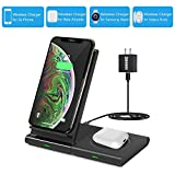 Dual Wireless Charger, COSOOS 2in1 Qi Charging Stand Pad for iPhone 11 Pro/Xs Max/XS/Xr/X/8 Plus,Airpods 2,Samsung S10+/S10/S9+/S9/S8+/S8/S7,Gear 3,Galaxy Buds,All Qi Enabled Device(with QC3 Adapter)