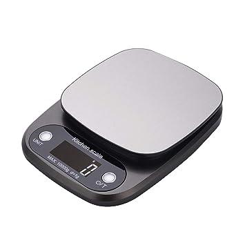 BESTONZON Báscula de cocina digital 10 kg / 1 g Escala electrónica de alimentos sin batería gris: Amazon.es: Hogar