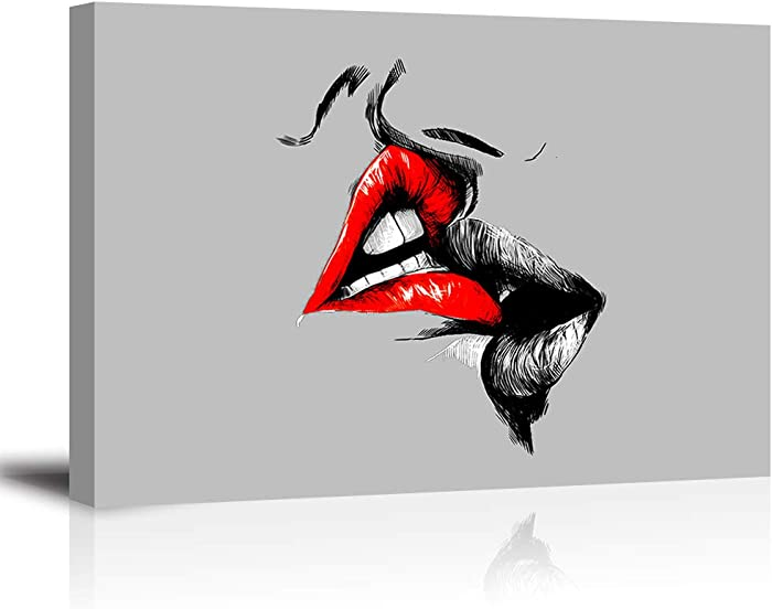 Abstract Sketch Red Lips Canvas Wall Decor Art Lover Kiss Painting Black White and Gray Picture Romantic Home Decoration for Bedroom (24x36 inches,Ready to Hang)