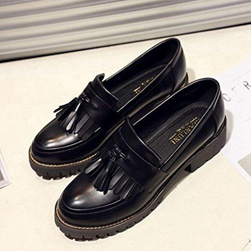 Giy Womens Vintage Oxfords Wingtips Slip-on Gland Confort Décontracté Rétro Robe Mocassins Chaussures Noir