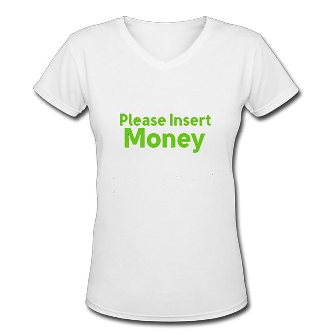 V-Neck Short Sleeve Cotton T Shirt For Women Please Insert Money Tee Shirts  SizeKey1White 28fcba1145fc