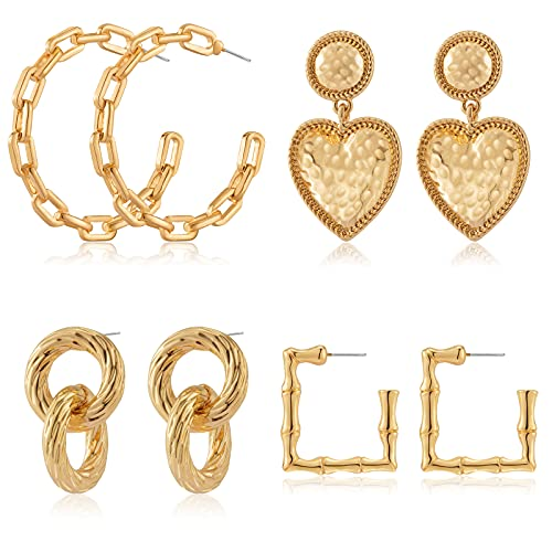 Heytree 4 Pairs Gold Statement Earrings 3-dimensional Alloy Geometric 2021 Fashion Trend Personality Statement Earrings for Women