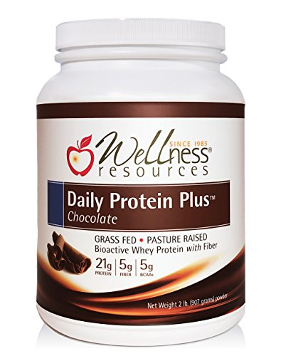 Daily Protein Plus Chocolate - Grass Fed, Pasture Raised Bioactive Whey Protein Isolate with Guar Fiber and Organic Cocoa - No Sweeteners, Soy-Free, Gluten-Free (2 lb.)