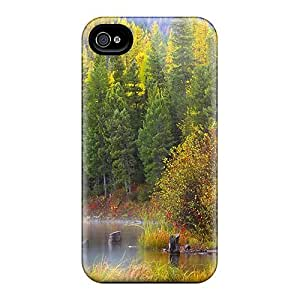 Durable Protector Case Cover With Misty Autumn Forest Lake Hot Design For Iphone 4/4s