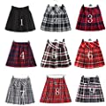 Girl`s Plaid Elasticated Pleated Skirt School Uniform Costumes