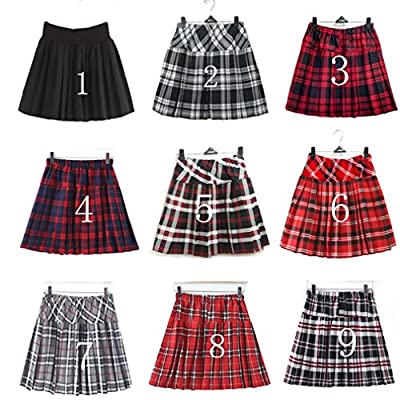 Girl`s Plaid Elasticated Pleated Skirt School Uniform Costumes