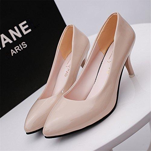 LIVY 2017 nueva boca baja señaló talones finos con zapatos de charol 6cm profesional de los zapatos sólidos de la boda Natural