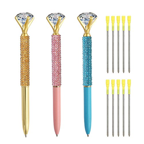 3 Pcs Diamond Pens, Metal Ballpoint Pen With Big Crystal Diamond for Women and Student, Gold Pink and Blue,School and Office Supplies,Black Ink with10 Replacement Refills By YWSYC ()