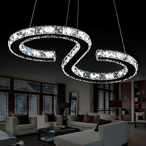 Elinkume 23W Luxury Modern Crystal LED Pendant Light, Modern Home Ceiling Light Fixture, Pendant Light Chandeliers Lighting Cool white
