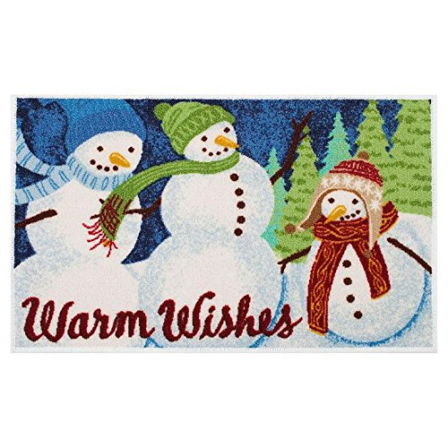 as Square Nonslip Nylon Accent Rug Mat - 20'' X 30'' (Scenic Snowman) ()