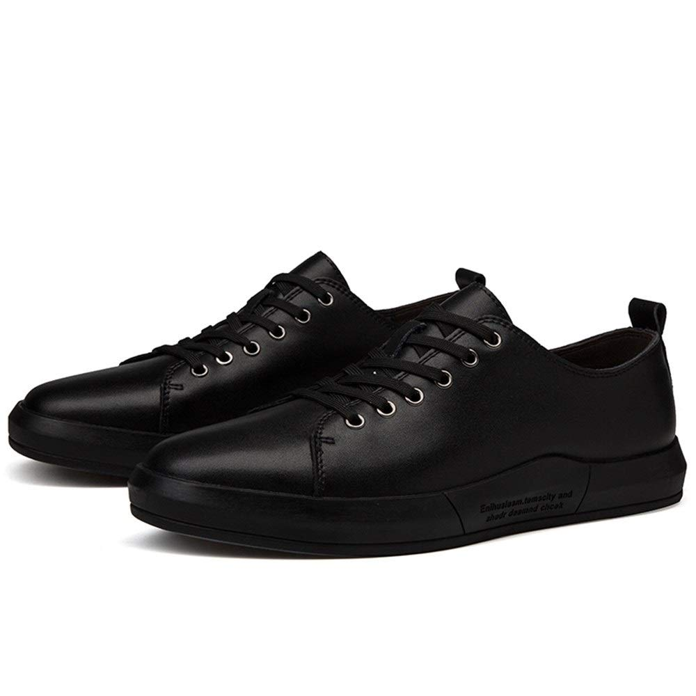 Fashion Lace up Genuine Leather Outdoor Running Fashion Sneaker for Men Sports Athletic Flat White Board shoes Men's Boots (color   Black, Size   8.5 UK)