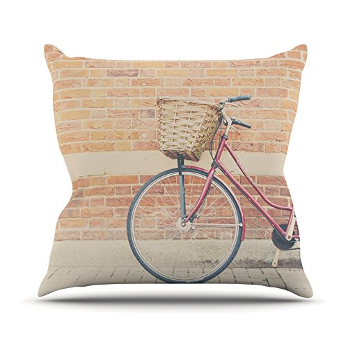 Kess InHouse Laura Evans A Red Bicycle Throw Pillow Orange Brown 18 by 18