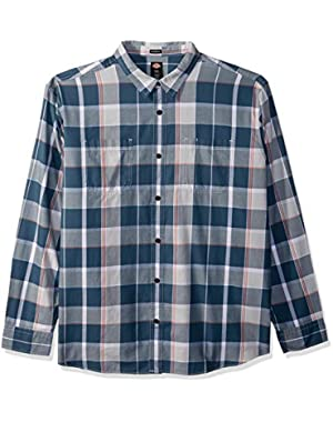 Men's Long Sleeve Relaxed Yarn Dye Plaid Shirt,