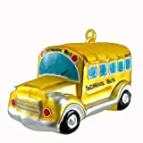 Laved Italian Ornaments YELLOW SCHOOL BUS Glass Vehicle Christmas ST8601