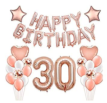 40 Inch Rose Gold Number 30 Balloon With 16 Happy Birthday Banner And Foil