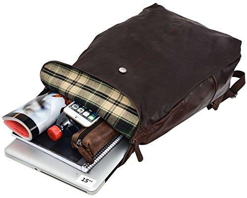 """Gusti Leder studio """"Neal"""" Mochila para Portátil de 15"""" de Cuero Genuino Apple MacBook 15 Estilo Vintage Retro Piel de Búfalo Negro 2M52-20-2"""