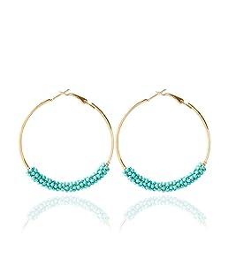 Dcfywl731 Bohemian Circle Colorful Beaded Earrings,CHUYUN Gold Plated Hoop Dangle Earrings for Girls (Blue)