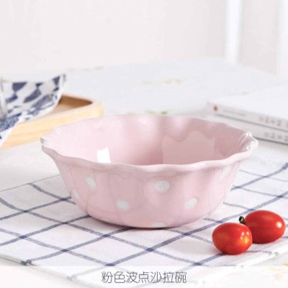 CZDXM M/énage Plat en C/éramique Vaisselle Polka Dot Assiette Cor/éenne Dessert Mignon Bol /À Riz Bol De Riz Bol De Nouilles Bol /À Soupe Set Assiette Plate /À Pois Beige