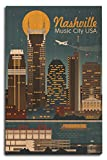 Lantern Press Nashville, Tennesseee - Retro Skyline (10x15 Wood Wall Sign, Wall Decor Ready to Hang)