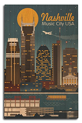 Lantern Press Nashville, Tennesseee - Retro Skyline (10x15 Wood Wall Sign, Wall Decor Ready to Hang)