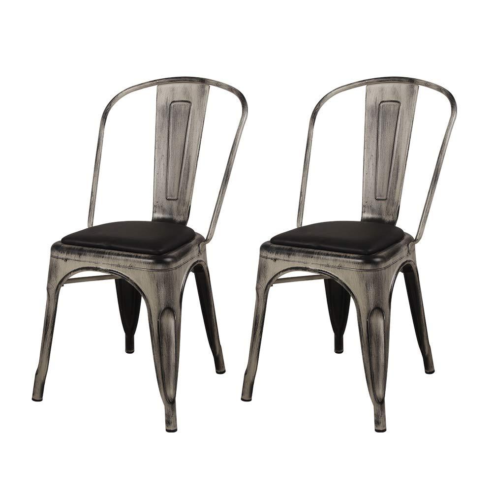 Antique White with Black Cushion MC45K-ANTIWH/_PU/_4/_VC GIA MC45K-ANTIWH/_PU/_4 High Back Pack Large Seat Metal Chair