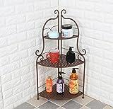 Iron Bathroom Shelf Toilet Toilet Storage Shelf Triangle Floor Toilet Basin-3 layer ( Color : White )